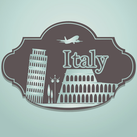 a brown icon with some classic buildings from italy Vector