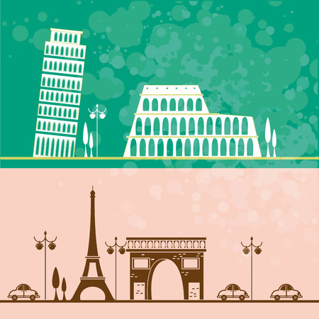 two different backgrouns with classic buildings from france and italy Vector