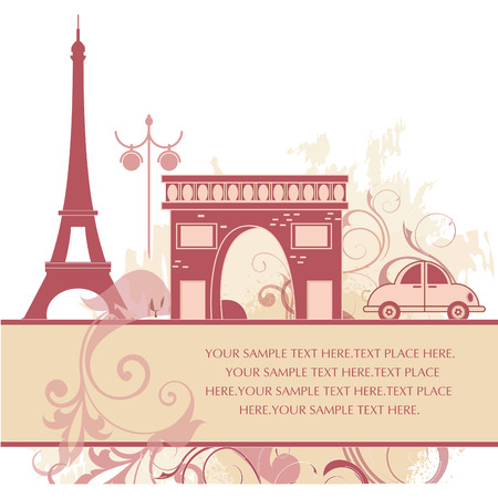 some pink silhouettes of classic buildings from france Vector
