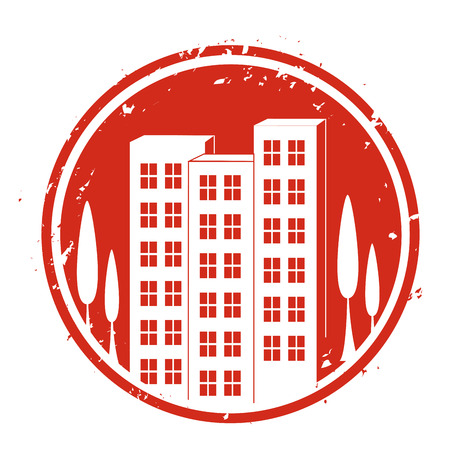 a red icon with white silhouettes of buildings and trees Vector