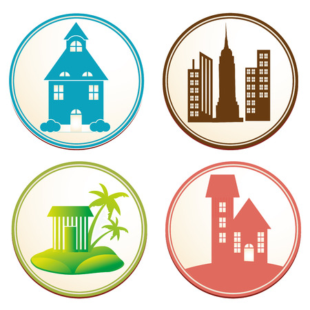 four colored round icons with different buildings Vector