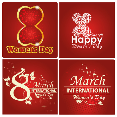 a lot of beautiful and colorful backgrounds for womens day Vector