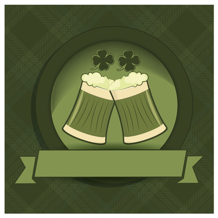 a couple of birds within an icon with ribbon for saint patricks day Vector