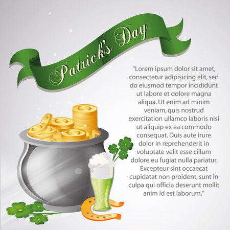 a lot of coins, a beer, a horseshoe and clovers for saint patricks day Vector