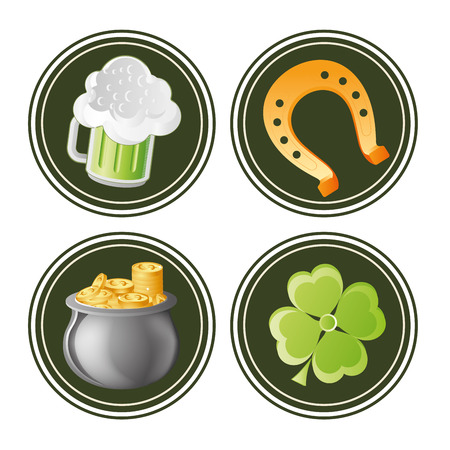 four green icons with different elements for saint patricks day Vector