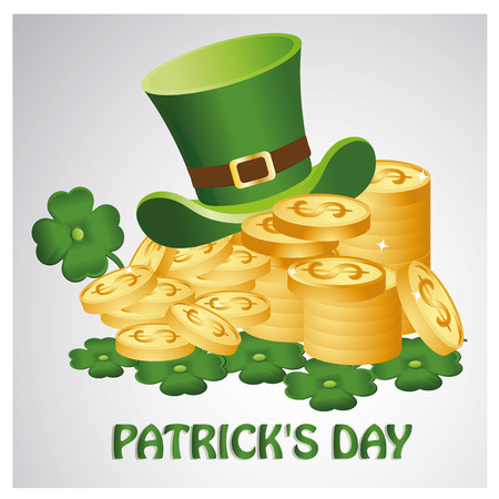 a lot of coins with a hat, a clover and some text for saint patrick's day Vector