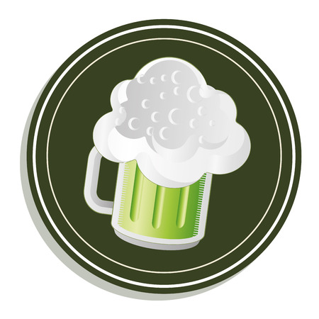 a green beer glass with a lot of foam within an icon Vector