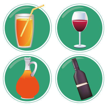 four green icons with cocktail and wine elements Vector