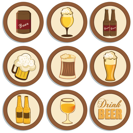 a lot of brown icons with beverages related elements