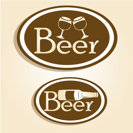 two brown icons with white silhouettes of beer glasses and bottles and text Vector