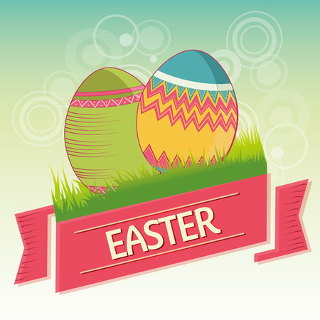 a couple of textured eggs in the grass with a ribbon with text Vector