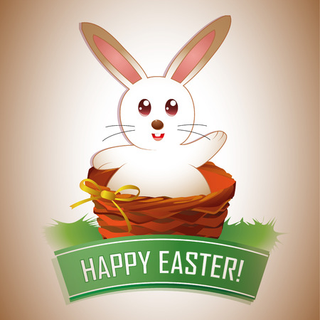 a happy rabbit within a basket and a ribbon with text Vector