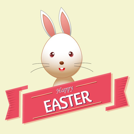 a happy rabbit and a ribbon with text for easter Vector