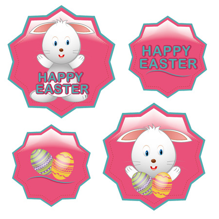 four pink icons with some rabbits, text and eggs Vector