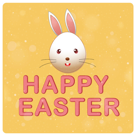 a happy rabbit with some text in a yellow background Vector