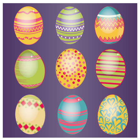 nine colored eggs with different textures in purple background Vector