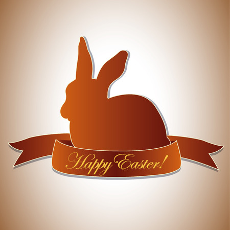 a brown silhouette of a rabbit and a ribbon with text Vector