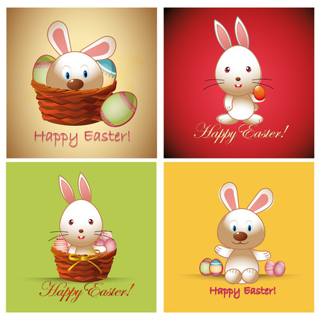 four different backgrounds with a rabbit, basket and some eggs Vector