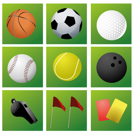 nine green icons with some sport related elements Vector