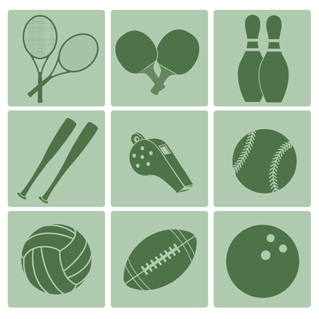 nine green icons with a lot of silhouettes of sport related elements Vector