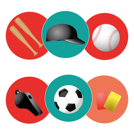 iconography: six colored icons with some sport related elements