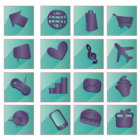 iconography: sixteen green icons with purple silhouettes of web buttons Illustration