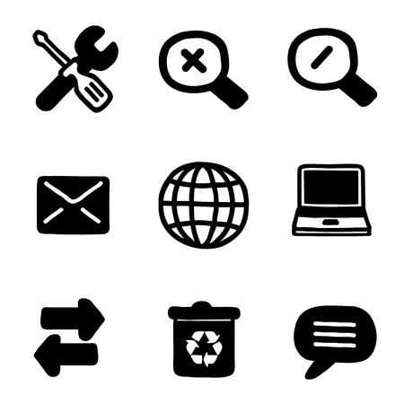nine black and white silhouettes of some web tools Vector