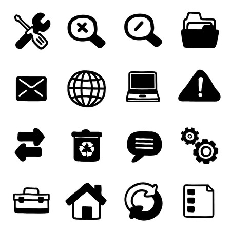 sixteen white and black icons of web tools in white background