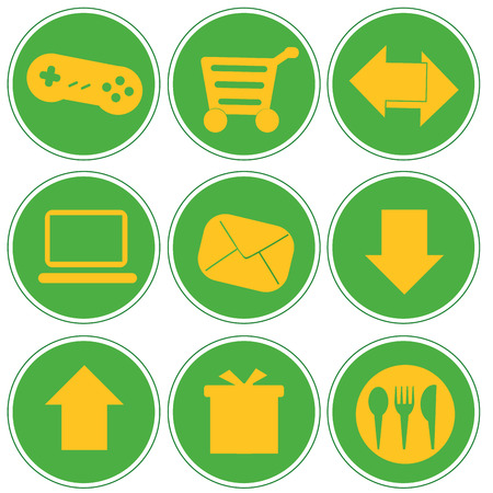 iconography: nine green icons with white silhouettes of web buttons
