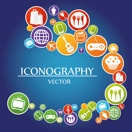 iconography: a blue background with a lot of colored icons with white silhouettes of web buttons Illustration