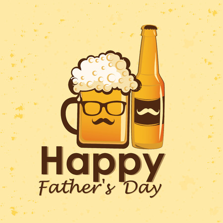 a glass with beer, a bottle of beer and some text for fathers day Vector