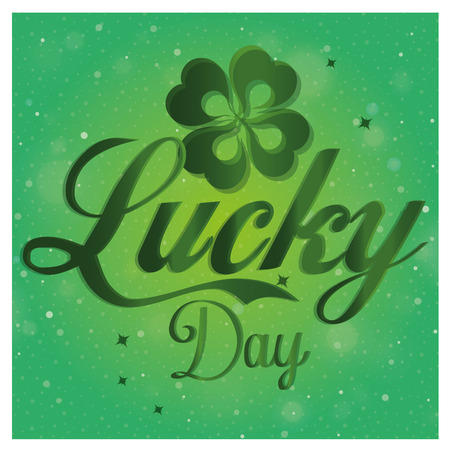 a green background with some text and a clover for patricks day Vector