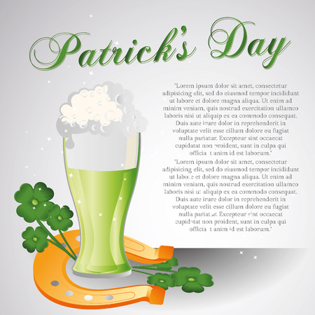 some text with a beer, clovers and a horseshoe for patrick's day Vector