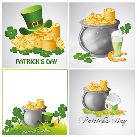 four objects: four different backgrounds with some objects related to patricks day