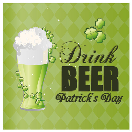 a green textured background with a beer with clovers and text for patrick's day Vector