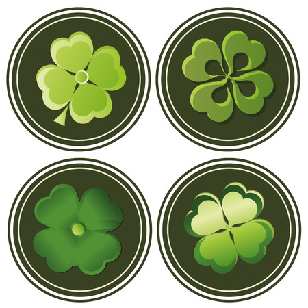 four green icons with different styles of clovers for patricks day Vector