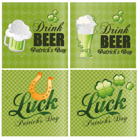 four objects: four different backgrounds with text and different objects for patricks day