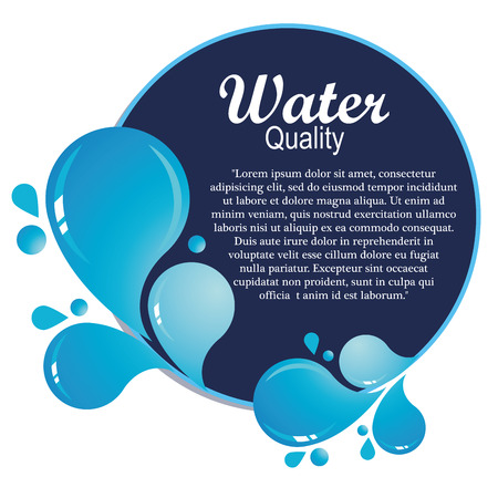 niebieska ikona z kilkoma kroplami wody i tekstu