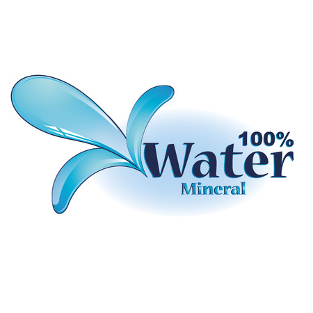 some blue text with some drops of mineral water
