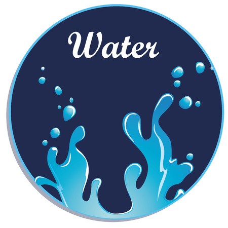 a blue icon with some text and mineral water
