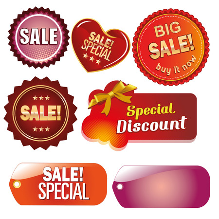 a lot of colored icons with text for sales purposes Vector