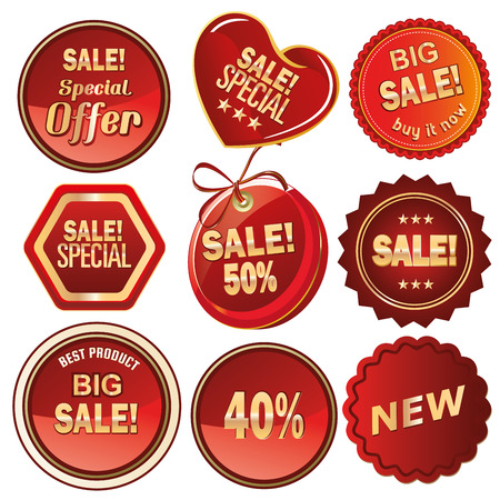 a lot of red icons with golden text for sales purposes Vector