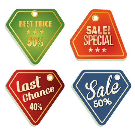 four colored icons with some text for sales purposes Vector