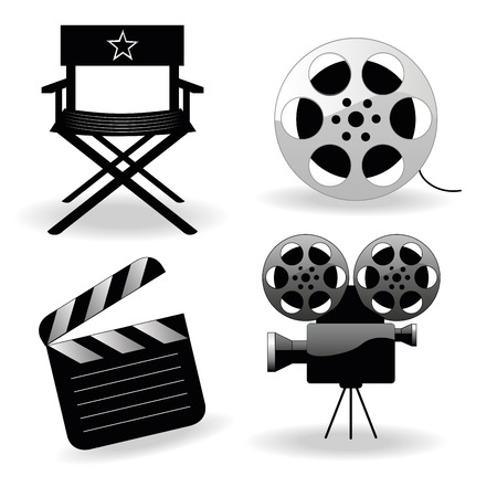 four different black silhouettes of objects used in cinema Vector