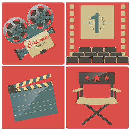 four red backgrounds with some objects related to cinema Vector