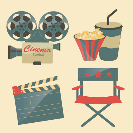 some colored objects related to cinema production Vector