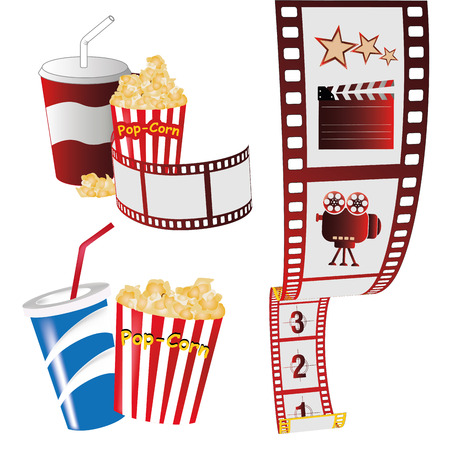 some colored objects related to cinema production in white background Vector