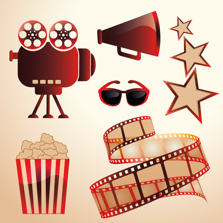 some red and brown silhouettes of objects related to cinema Vector