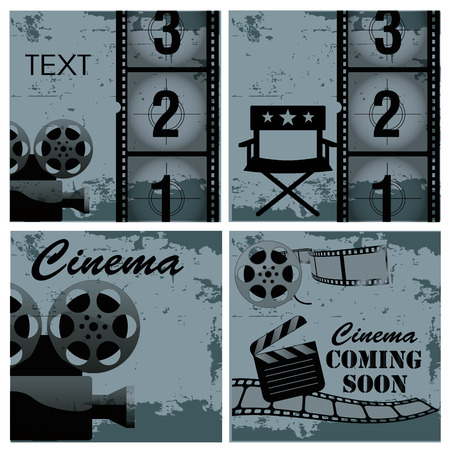 four different blue backgrounds with black silhouettes of objects related to cinema Vector