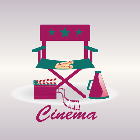 director chair: a colored director chair with some objects for cinema production